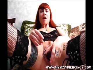 Heavy pierced and tattooed german slut toy in ringed muff tmb