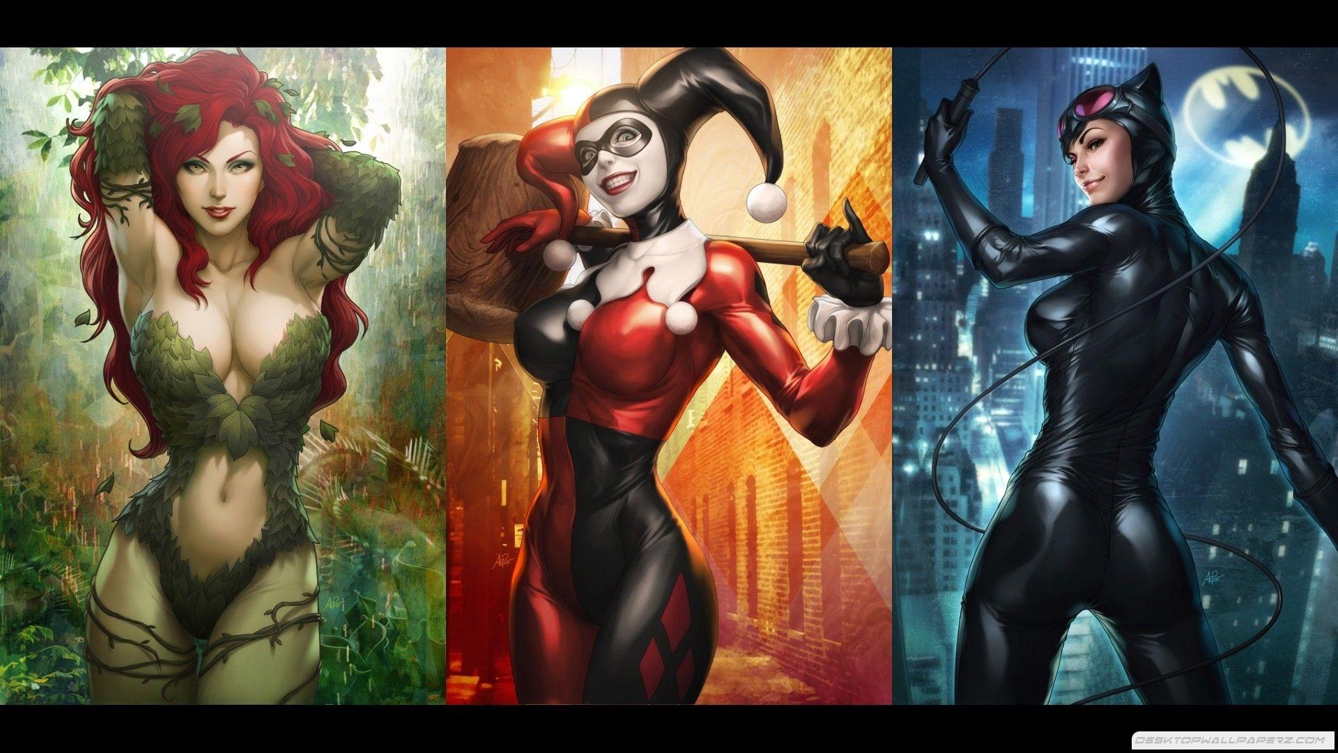 Catwoman harley quinn poison ivy wonder woman supergirl batgirl