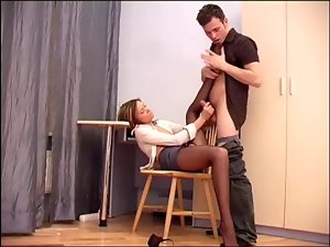 Hardcore office sex with a busty secretary in crotchless