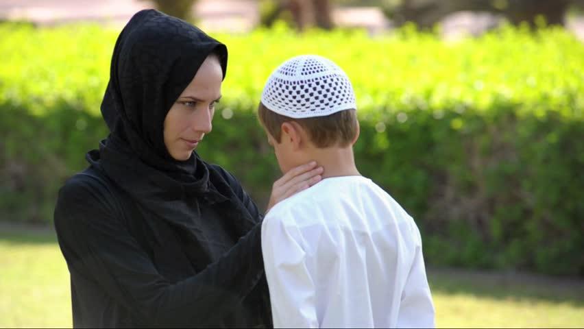Arab mom and son