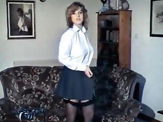 Blonde lingerie striptease porn