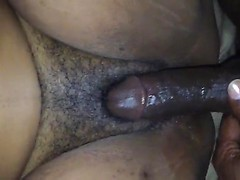 Long thick black dick deep in a creamy black pussy