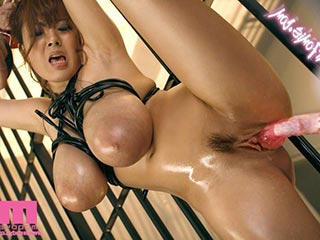 Asian hottie riding black